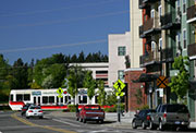 Neightborhood, showing bus transit and pedestrian walkways sign.