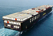 Ship with cargo, depicting marine freight movement on marine highways