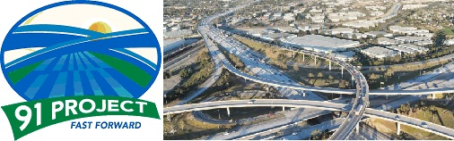 Composite image of S.R. 91 project logo and a photo of an interchange on the corridor