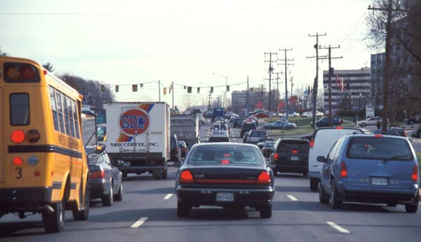 Photo of a congested suburban road