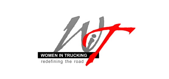 "Graphic of Women-In-Trucking logo with caption saying ""Redefining the road."""