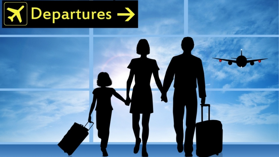 Computer-generated image of family in shadowed profile heading for airport departure