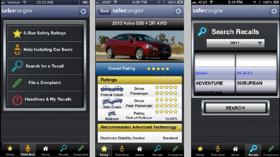 3 screenshots of the safer car application