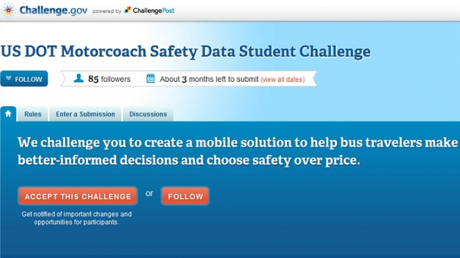 Screen capture of the Safety Data Student Challenge on challenge-dot-gov