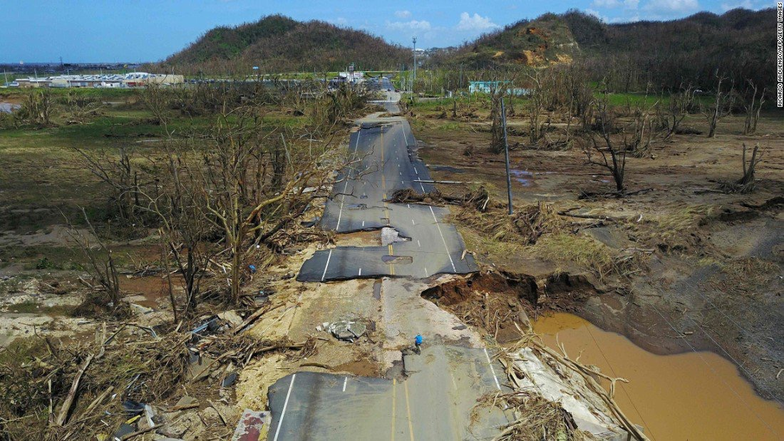 Impassable road in Puerto Rico