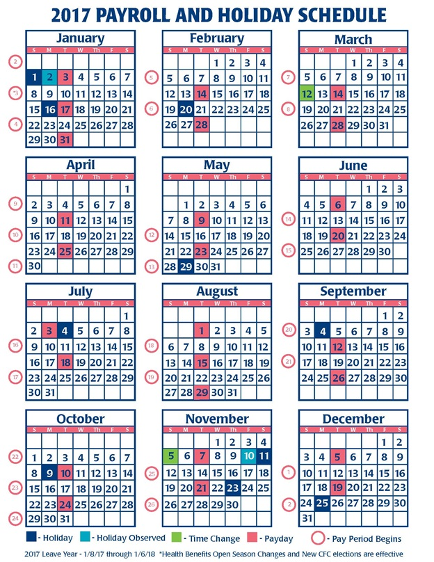 2017payroll And Holiday Schedule Image