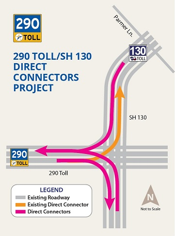 Map of Manor Expressway Interchange with SH130