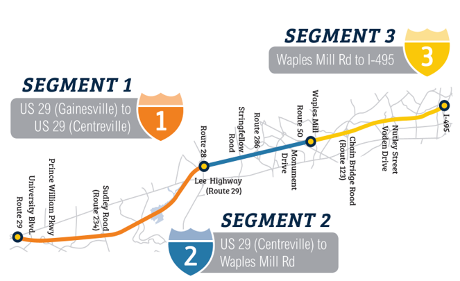 A road map showing the extent of the Transform 66 project