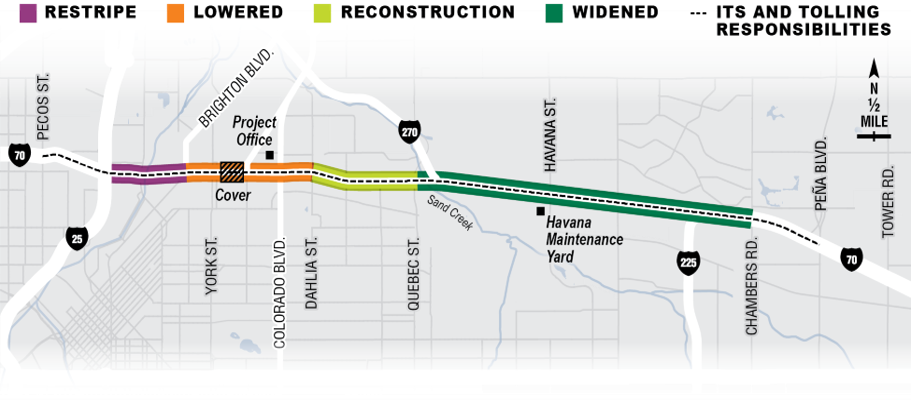 A map of the extent of the Central 70 project