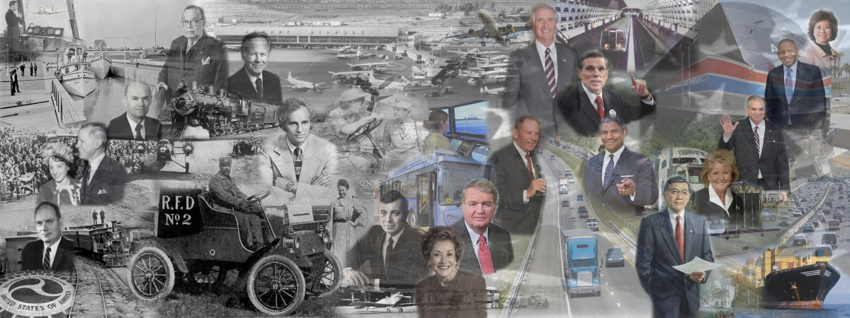Collage of transportation with images of all DOT secretaries