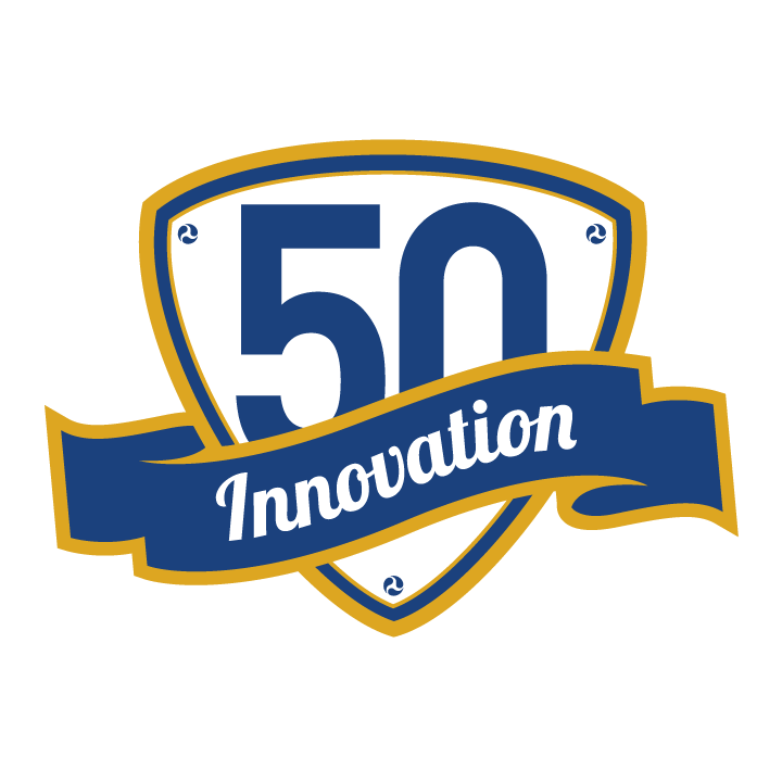 logo for 50th  with innovation written across