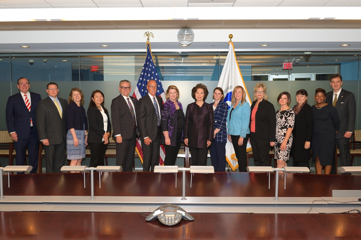 Secretary of Transportation Elaine L. Chao with Advisory Committee on Human Trafficking (ACHT) Members