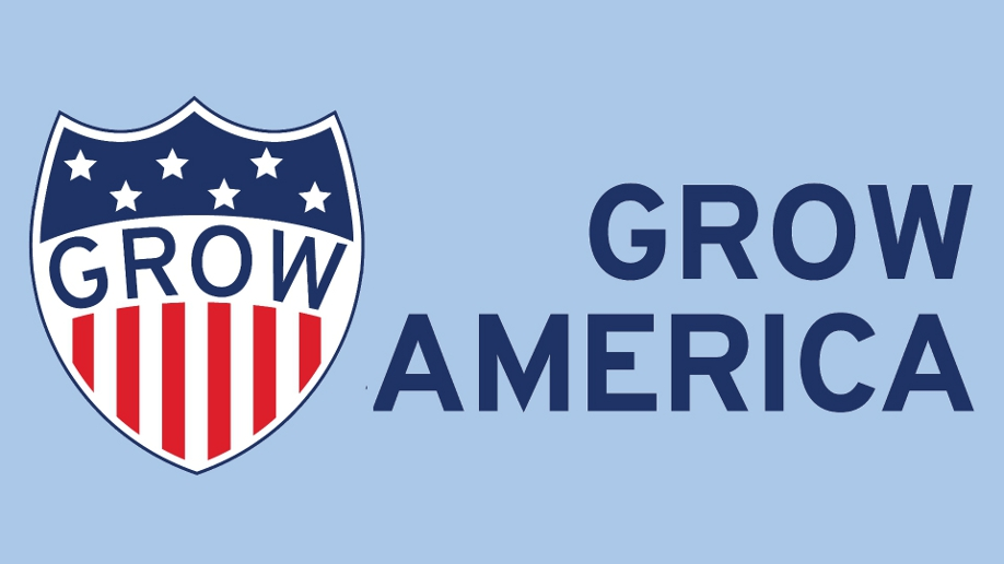 Grow America logo with blue background