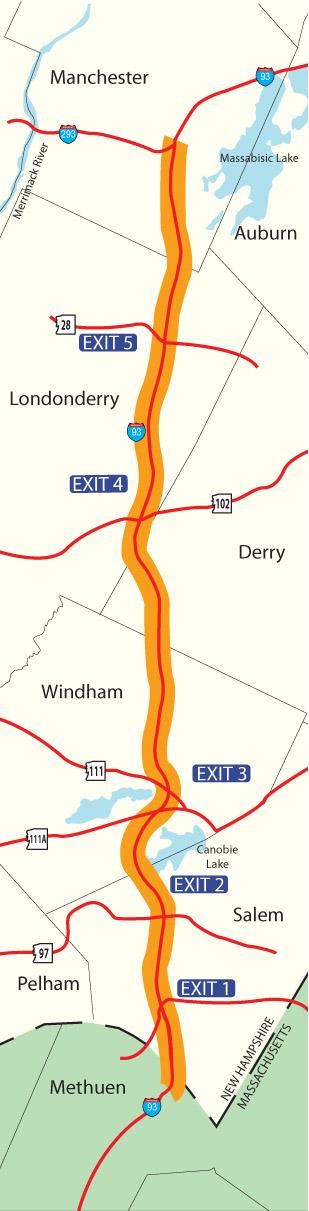 I-93 Salem to Manchester Map