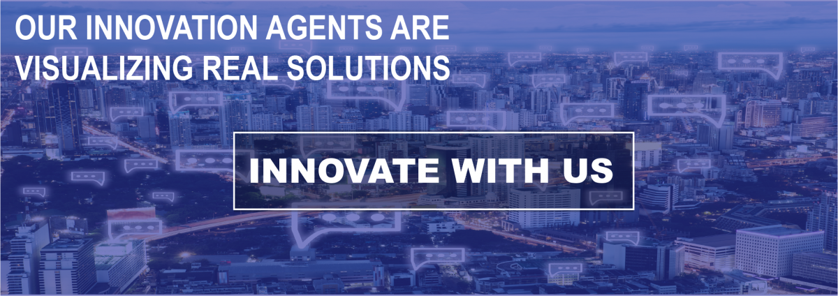 "Banner image inviting potential partners to ""innovate with us."" Clicking in this image will open a web form to join the challenge an an innovation agent."