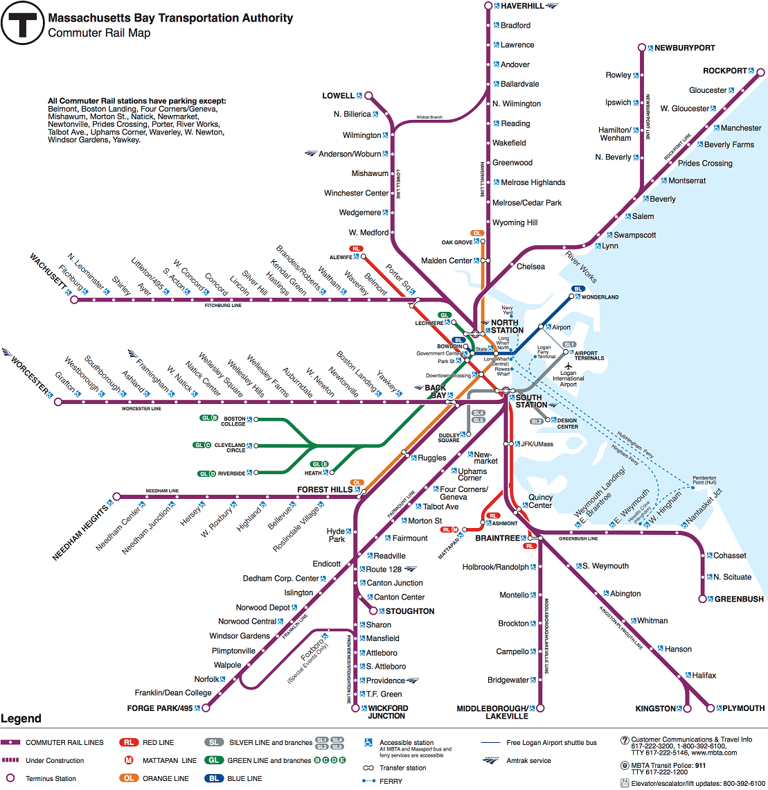 A map of MBTA's commuter rail system