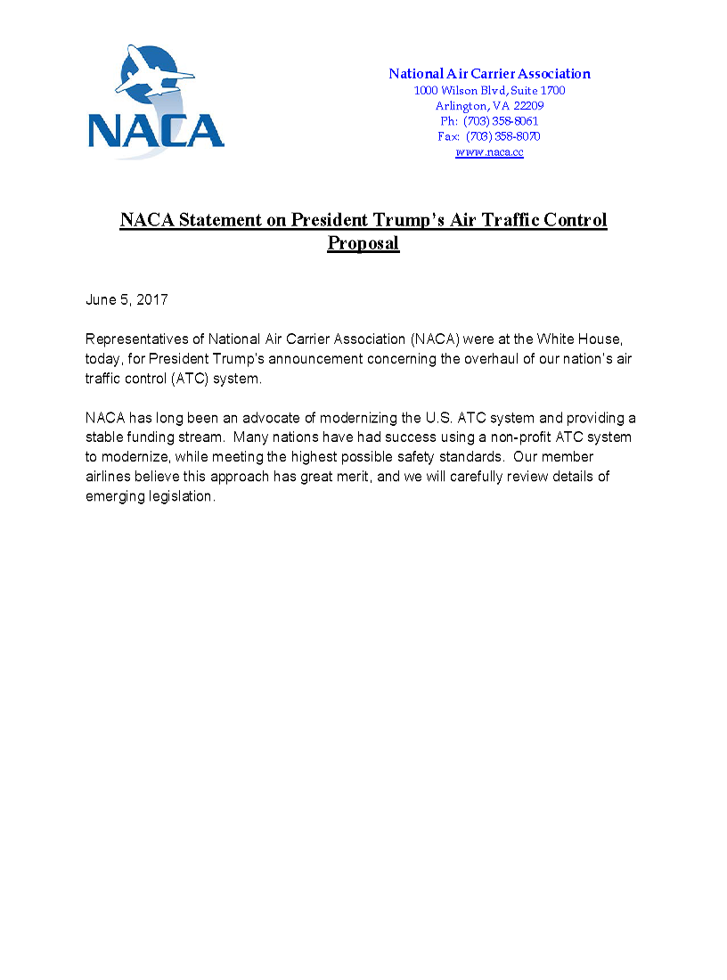 Screenshot of N.A.C.A. support statement