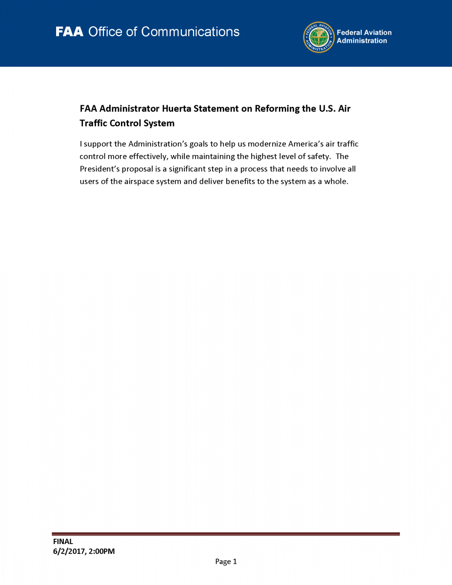 Statement of Support from FAA