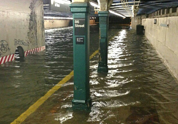Photograph of flooded subway station after Sandy