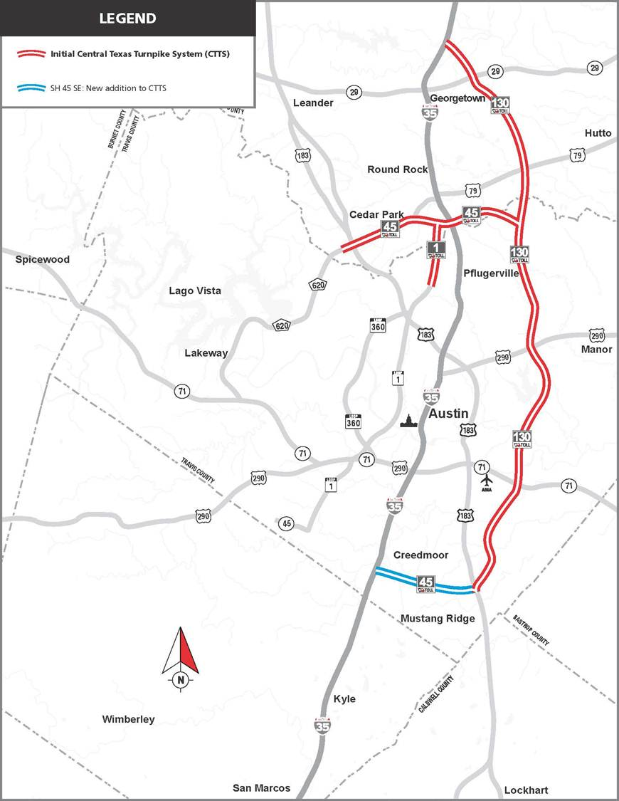 Map Of Central Texas Counties.Central Texas Turnpike System Us Department Of Transportation