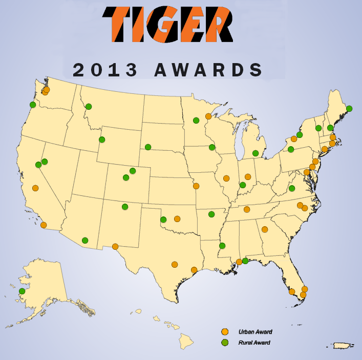Map of U.S. showing TIGER projects