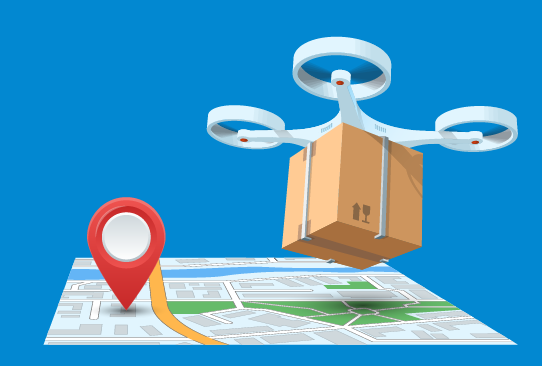Map with a Google-style location pin and a drone carrying a package above it