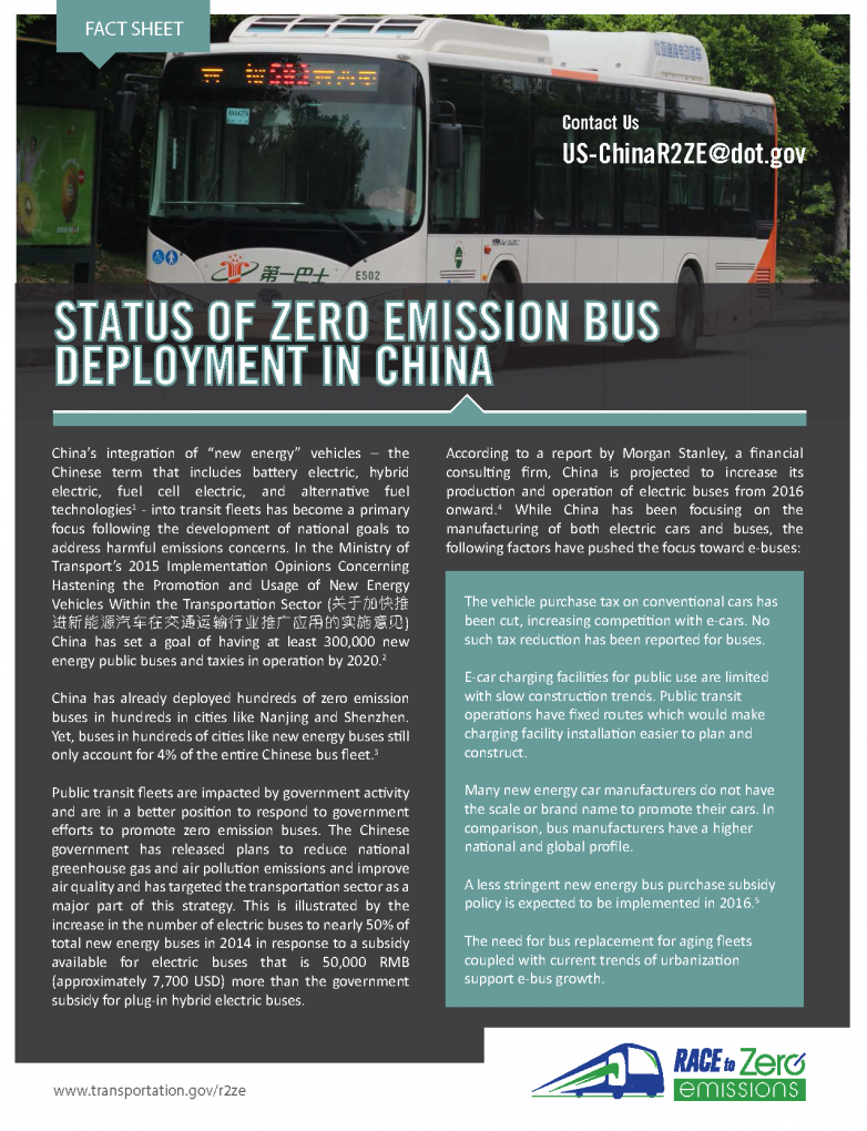 status of zero emission bus deployment in china
