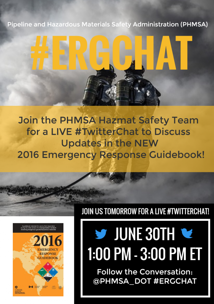 Pipeline and Hazardous Materials Safety Administration will host a live Twitter chat flyer image