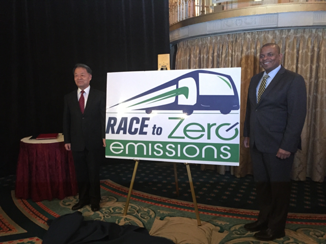 Race to zero emissions banner image with secretary Anthony Foxx