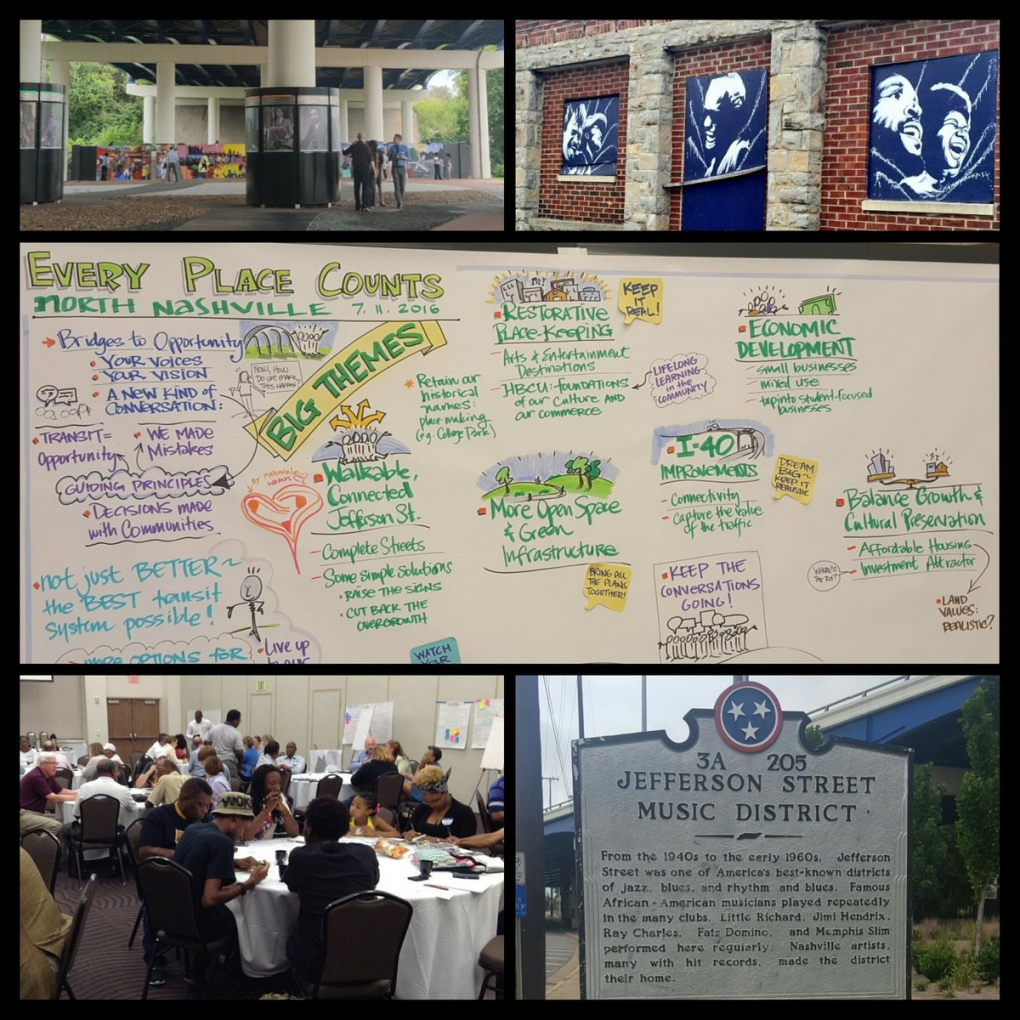A collage of pictures from the Nashville workshop. brainstorming sheet people at conference tables historical sign underpass