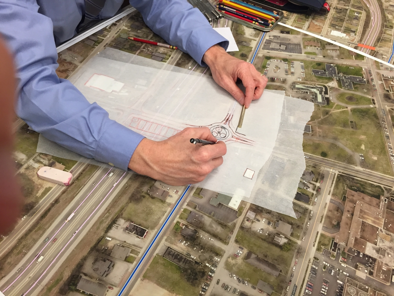 A man drafting a redesign of streets in Nashville