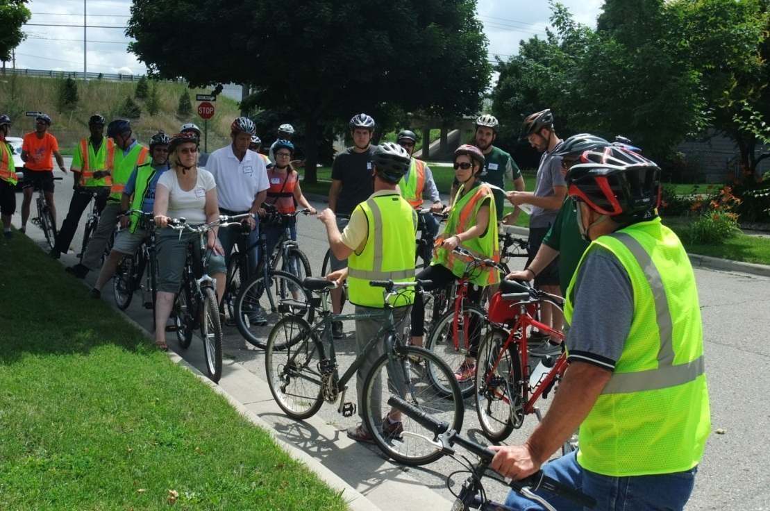 Participants during the Michigan walk/bike pilot assessment