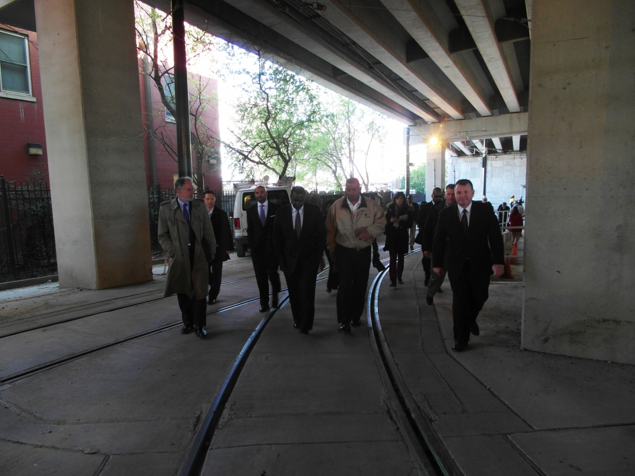 Photo of Secretary Foxx touring the Atlanta streetcar