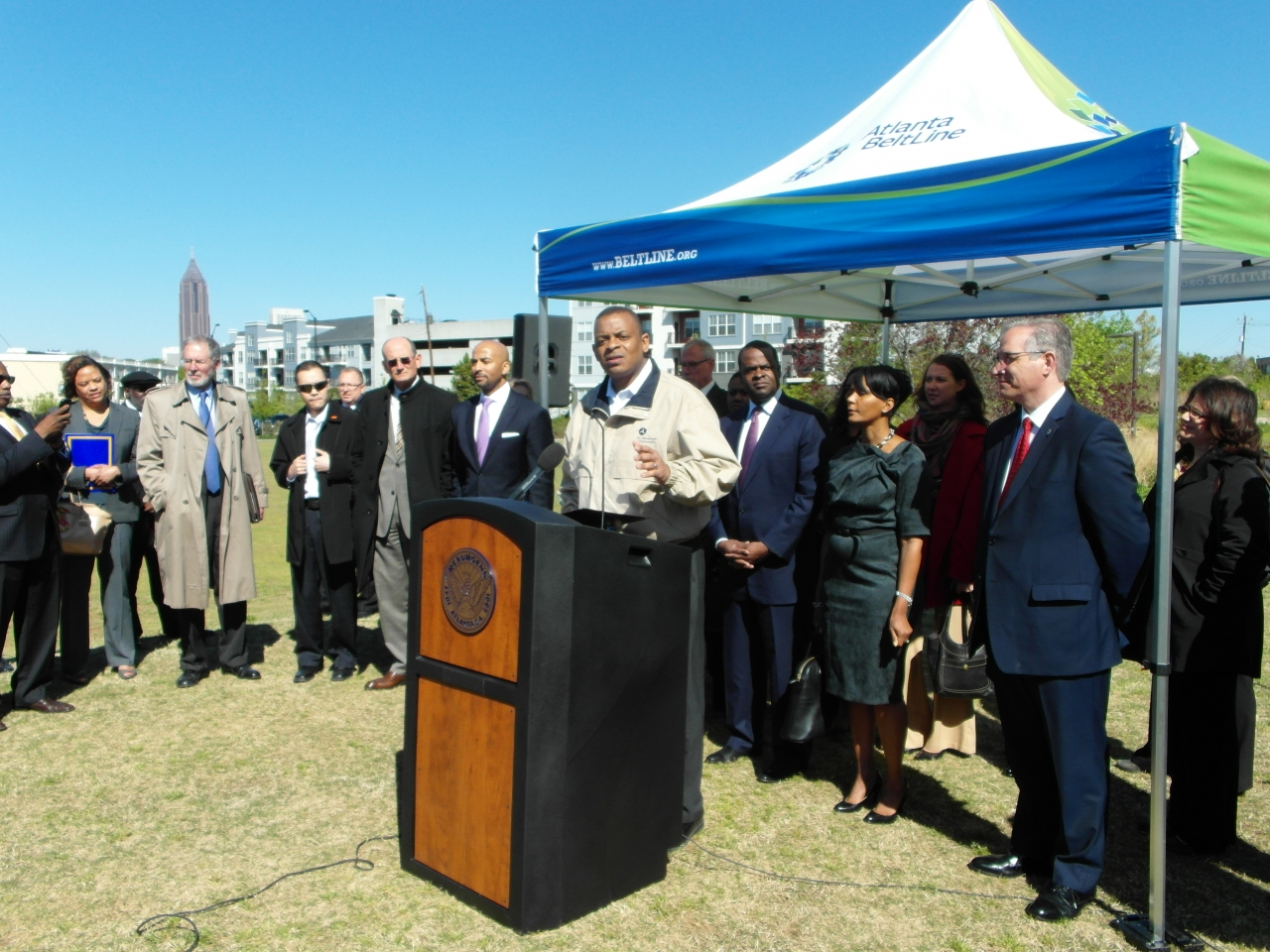 Photo of Secretary Foxx speaking at the Atlanta BeltLine press conference