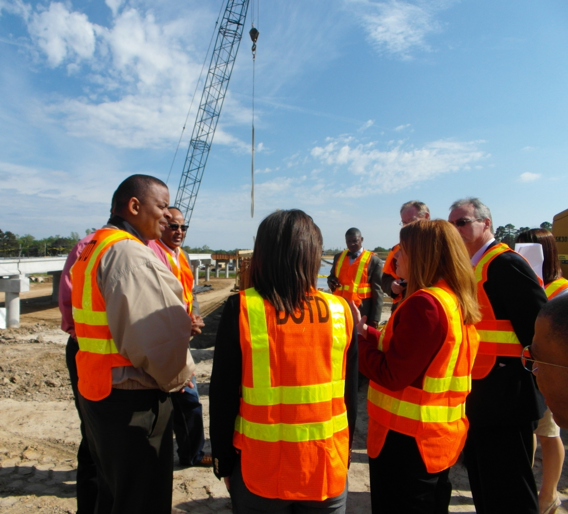 Photo of Secretary Foxx on a road construction site in Louisiana