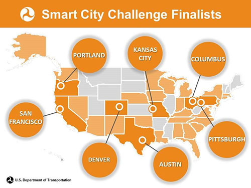 Image of US map pointing out smart city challenge finalists