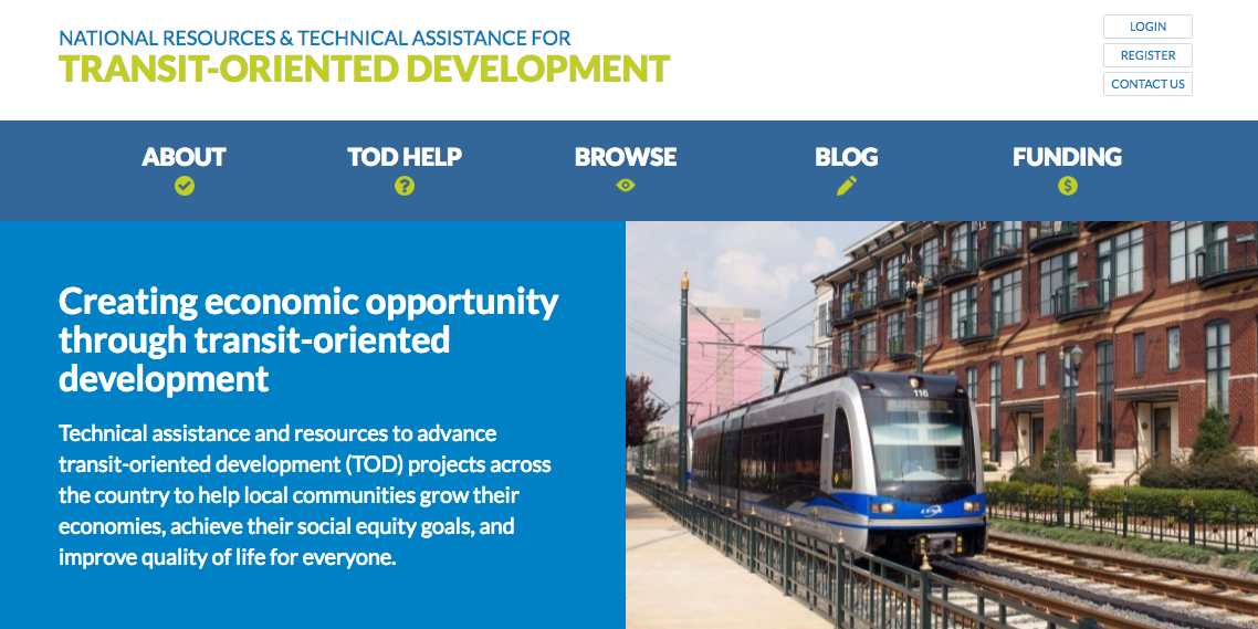 Transit Oriented development website homepage image