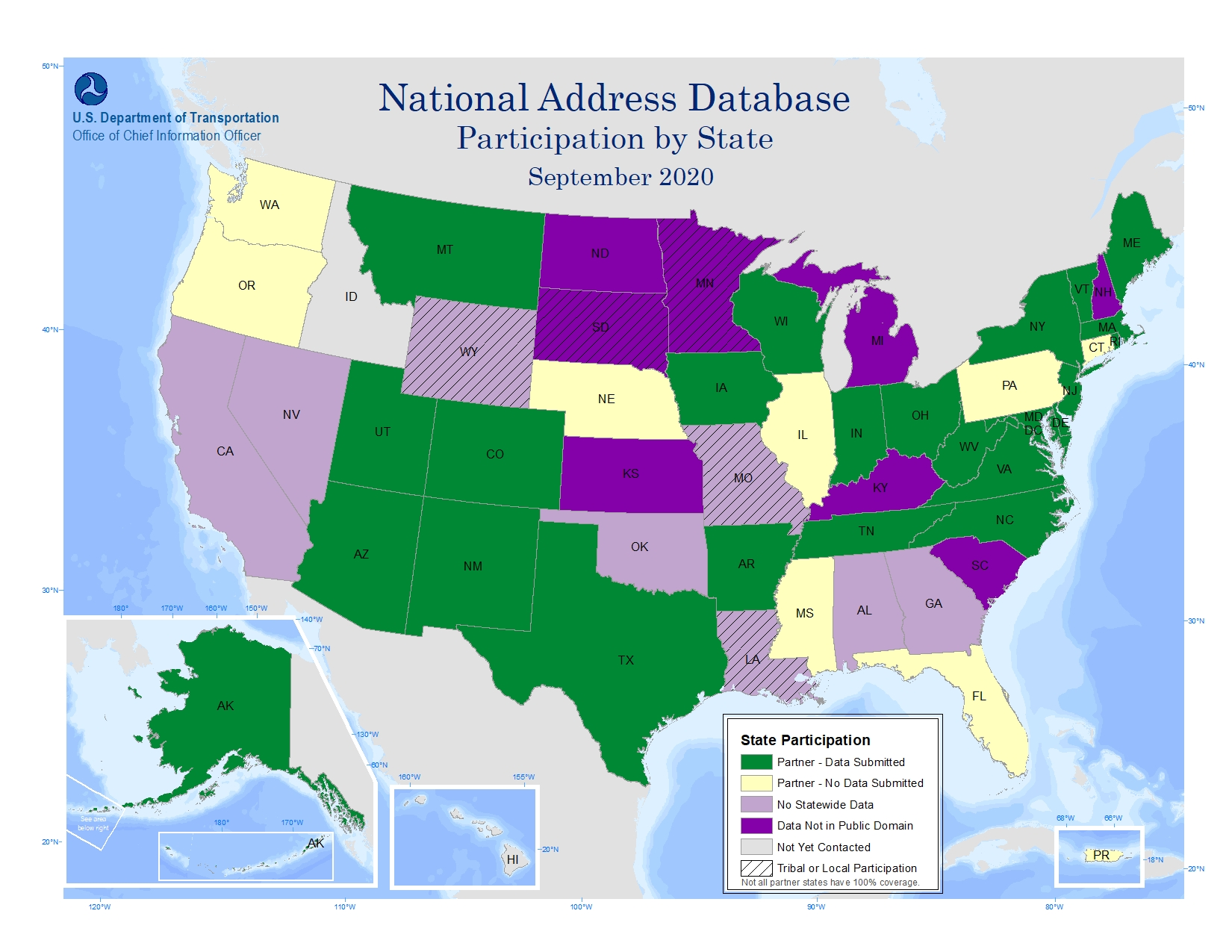 """The map includes a color-coded key that identifies the National Address Database (NAD) partner participation level by state."""