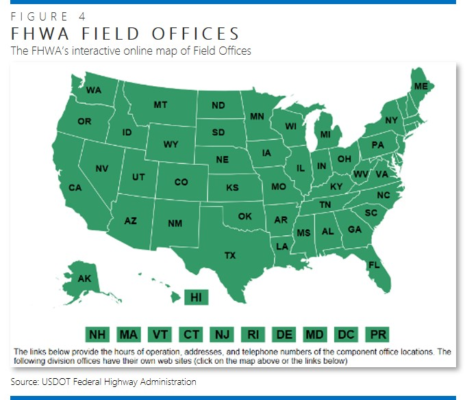 U.S. map showing location of FHWA Field Offices