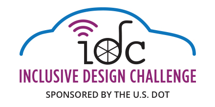 Logo for the U.S. DOT's Inclusive Design Challenge featuring symbols for automated vehicles and the disability community