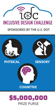 Image for U.S. DOT's Inclusive Design Challenge, which is looking for physical, sensory, and cognitive design solutions