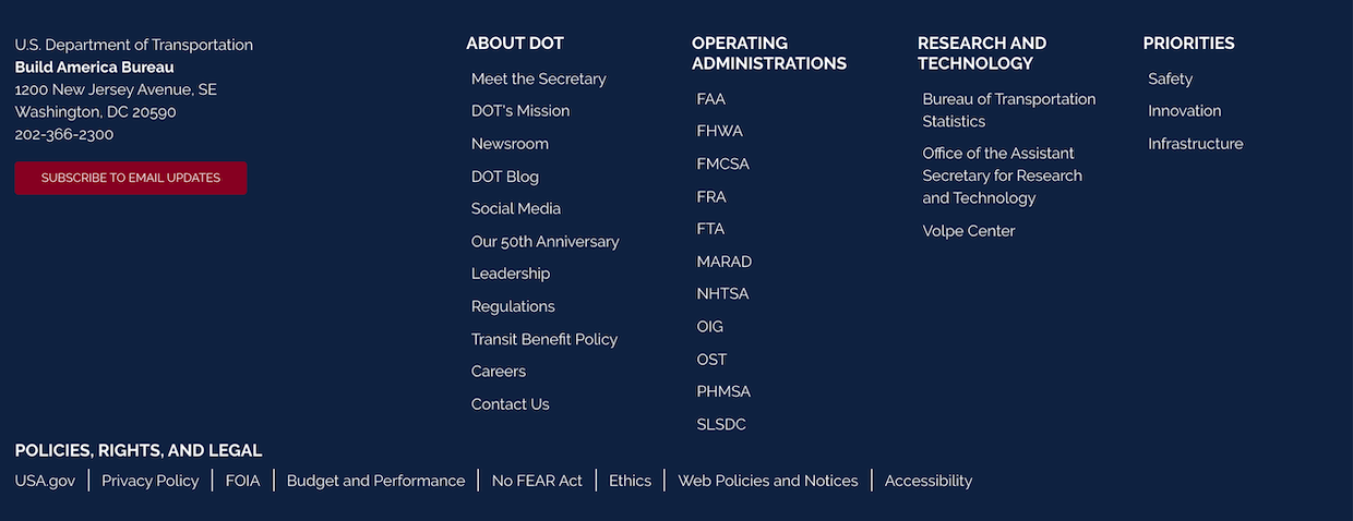 Example the footer on Build America