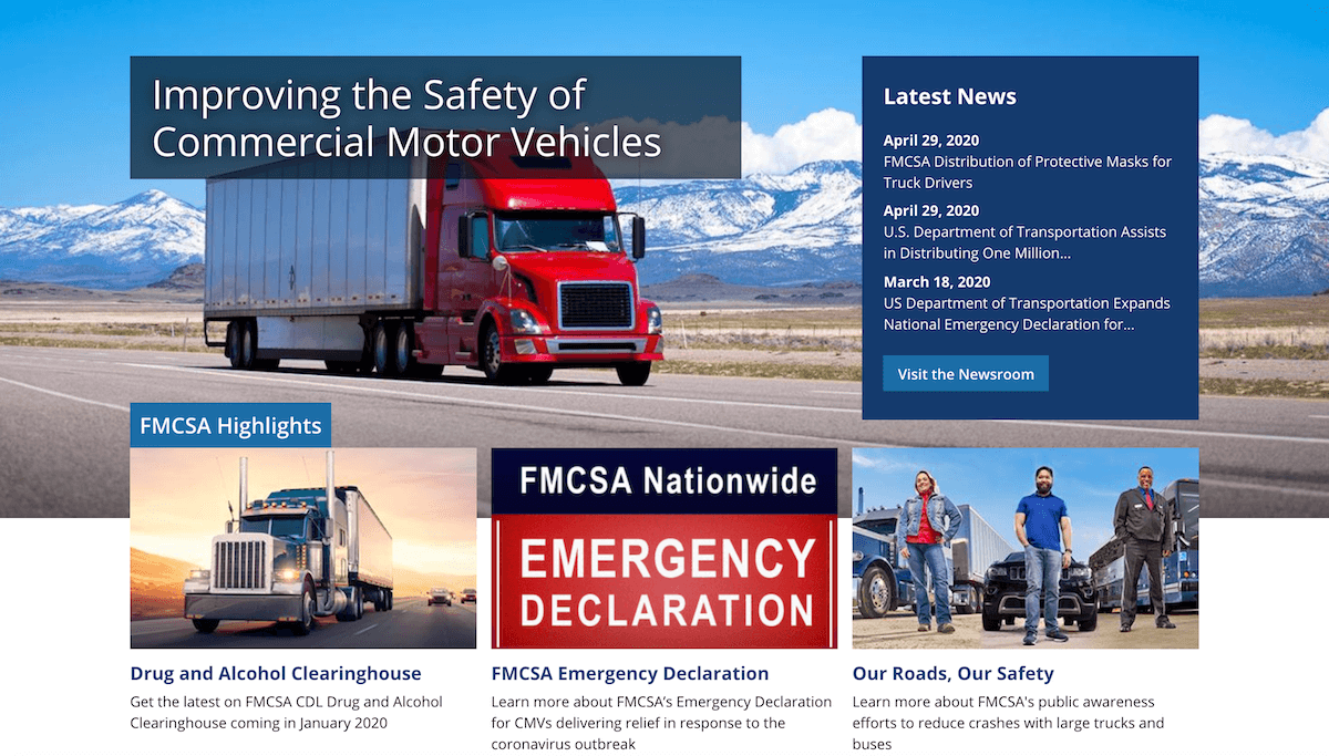 Example of the FMCSA hero