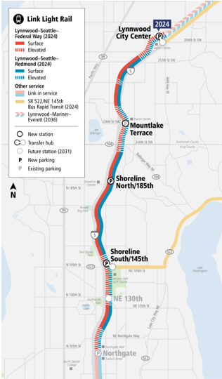 A map of the Lynnwood Link Extension project