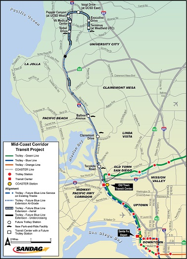 A map of the existing and proposed Mid-Coast Corridor
