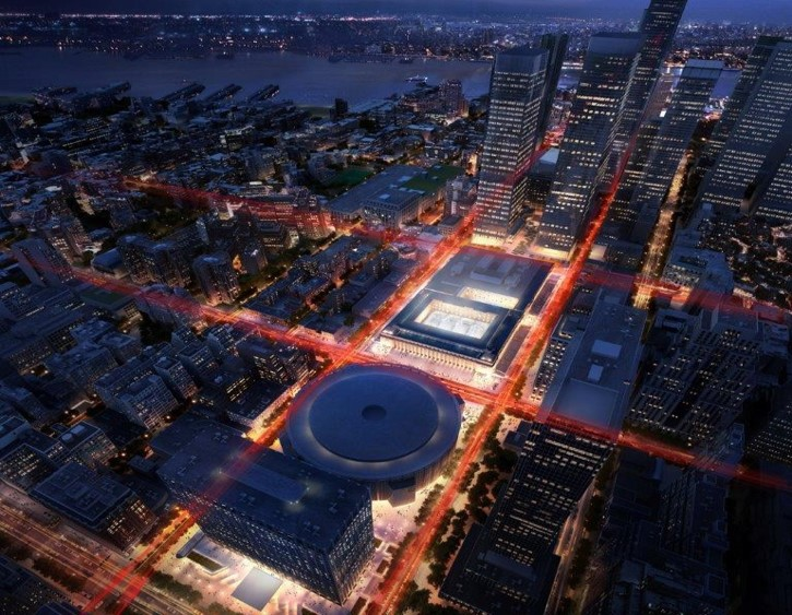 A rendering of an aerial view of the Moynihan Train Hall