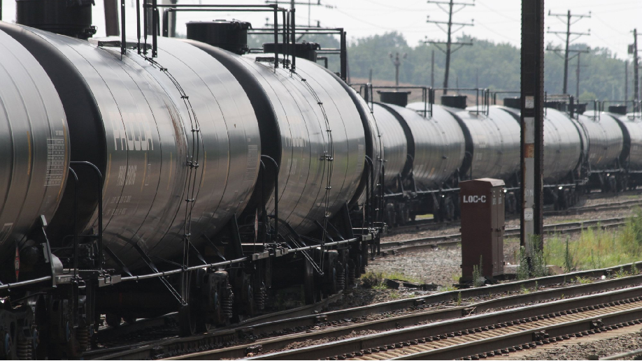Rail tank cars in yard