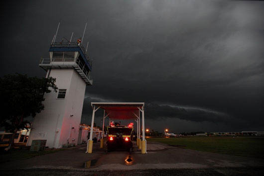 Photo of storm approaching control tower