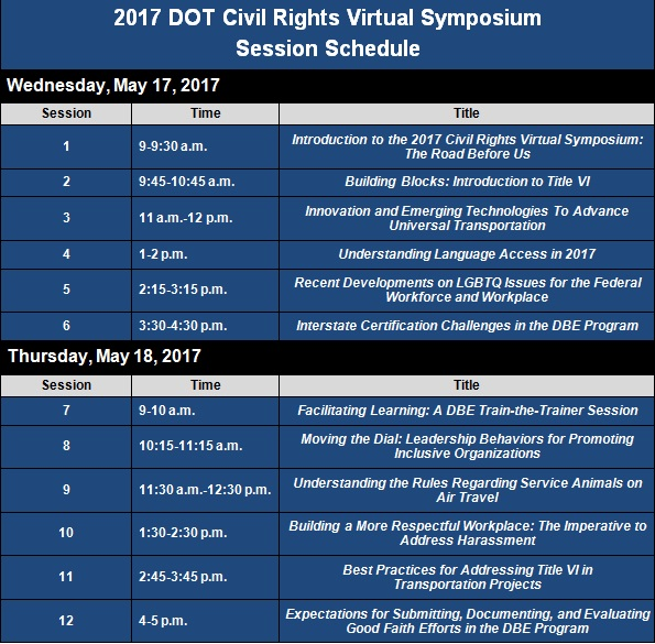 2017 DOT civil rights virtual symposium session schedule