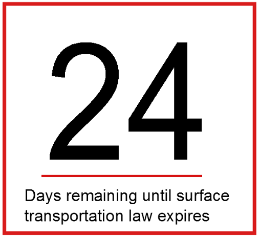 24 days until surface transportation law expires